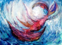 Boat Angel Sally Swain original artwork
