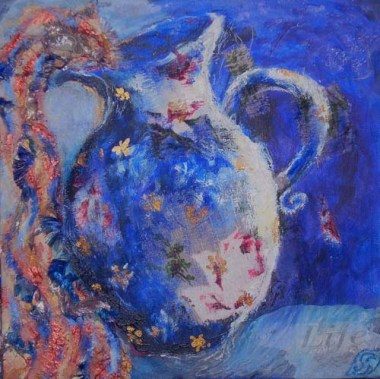 The Family Jug Sally Swain © original art acrylic, fabric, mixed media