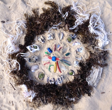 Beach Mandala found object sculpture