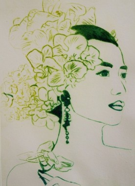 Orchid woman in green Val Andrews © original art