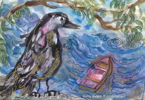 bird boat art watercolour