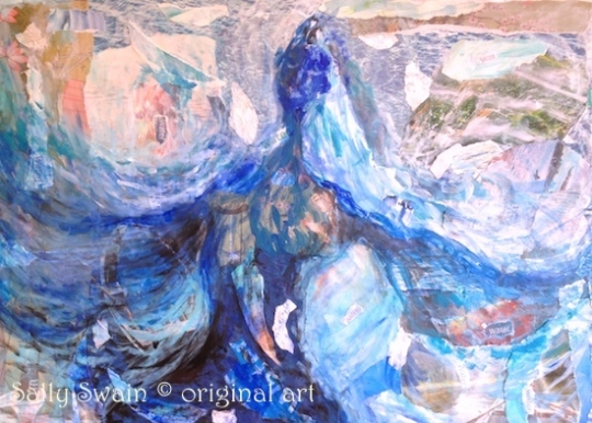 water goddess painting collage