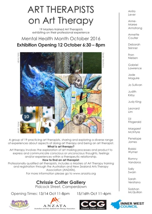 Art Therapists on Art Therapy exhibition Chrissie Cotter Gallery Camperdown, Sydney opens Wednesday 12th October, 2016
