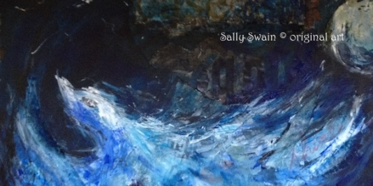 bird moon art Sally Swain