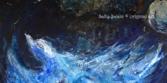 bird moon art Sally Swain