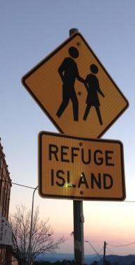 Refuge Island Katoomba sign
