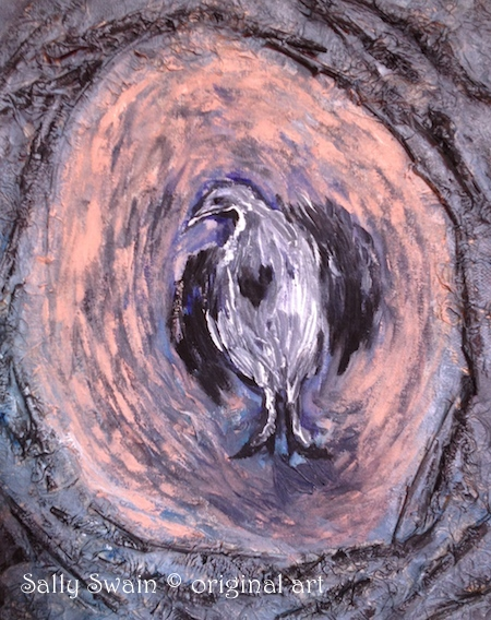 bird nest heart painting art Swain
