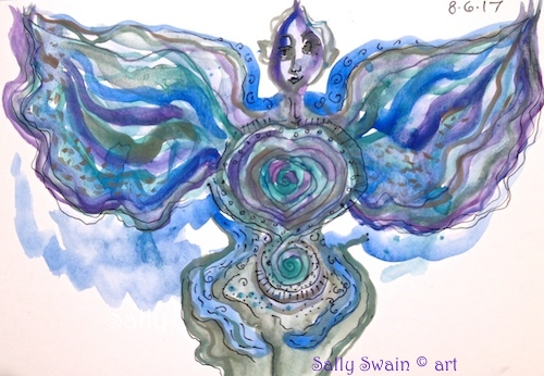 watercolour woman wings