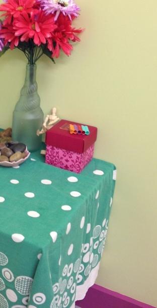 pink green art studio
