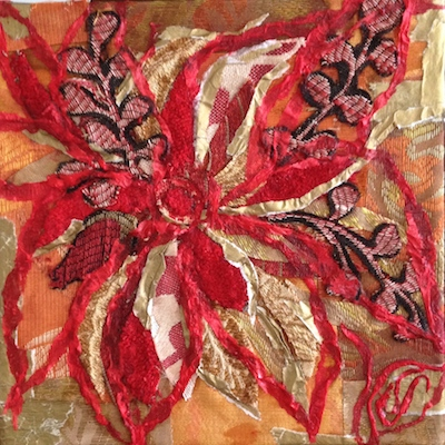 red gold fabric flower art
