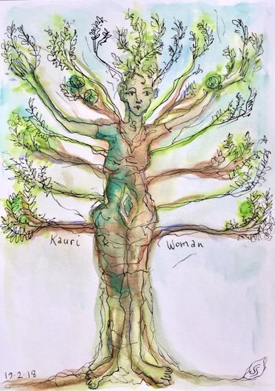 kauri woman watercolour