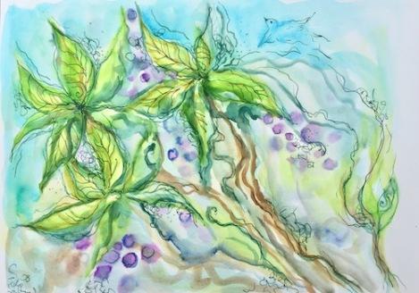 paint leaves berries